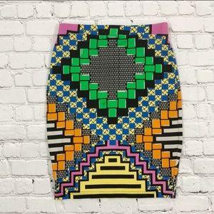 Topshop Multicolored Print Mini Skirt